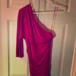 Bright pink one sleeve dress